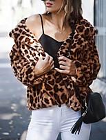 abordables -Manches Longues Fausse Fourrure Mariage / Fête / Soirée Etoles de Femme Avec Imprimé léopard Manteaux / Vestes
