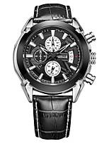 Недорогие -Муж. Спортивные часы Японский Японский кварц 30 m Защита от влаги Календарь Секундомер Натуральная кожа Группа Аналоговый Аналого-цифровые На каждый день Мода Черный / Коричневый - Черный Коричневый