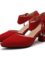 Недорогие -Жен. Комфортная обувь Замша Лето Обувь на каблуках На толстом каблуке Белый / Черный / Красный