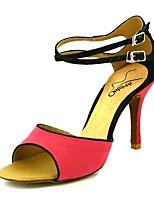 abordables -Femme Chaussures Latines Matière synthétique Talon Mince haut talon Chaussures de danse Jaune / Rose / Rouge foncé / Utilisation / Cuir / Entraînement