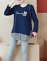 Недорогие -женская одежда тонкая футболка - цветной круглый шею