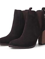 Недорогие -Жен. Комфортная обувь Кожа Весна лето Обувь на каблуках На толстом каблуке Заостренный носок Черный / Серый