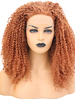 Недорогие -Синтетические кружевные передние парики Кудрявый Розовый Свободная часть Искусственные волосы 24 дюймовый Регулируется / Жаропрочная Розовый Парик Жен. Длинные Лента спереди Оранжевый / Да