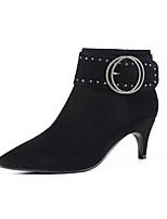 Недорогие -Жен. Fashion Boots Замша Лето Ботинки На шпильке Закрытый мыс Ботинки Черный / Телесный