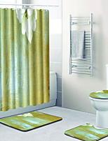 baratos -1conjunto Modern Tapetes Anti-Derrapantes Poliéster Elástico Tricotado 100g / m2 Floral Retângular Banheiro Fofo