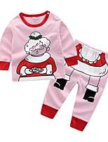 Недорогие -малыш Девочки На каждый день Рождество / Повседневные С принтом Длинный рукав Обычный Хлопок Набор одежды Розовый 90 / Дети (1-4 лет)