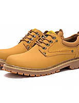 baratos -Homens Sapatos Confortáveis Couro Ecológico Outono Oxfords Amarelo / Castanho Claro / Castanho Escuro