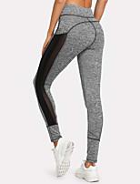 abordables -Femme Mosaïque Pantalon de yoga - Gris Des sports Couleur unie Taille Haute Collants / Bas Danse, Gymnastique, Faire des exercices Tenues de Sport Respirable, Evacuation de l'humidité, Doux Haute
