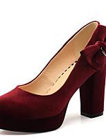 Недорогие -Жен. Комфортная обувь Полиуретан Весна Обувь на каблуках На толстом каблуке Черный / Синий / Миндальный