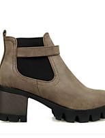 Недорогие -Жен. Fashion Boots Полиуретан Осень Ботинки На толстом каблуке Закрытый мыс Ботинки Серый / Коричневый / Красный