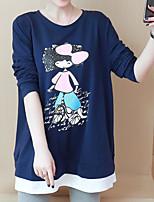 Недорогие -женская одежда тонкая футболка - мультяшная шея
