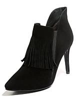 Недорогие -Жен. Fashion Boots Замша Весна Ботинки На шпильке Закрытый мыс Ботинки Черный / Красный