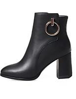 Недорогие -Жен. Fashion Boots Полиуретан Осень Ботинки На толстом каблуке Закрытый мыс Ботинки Черный / Красный