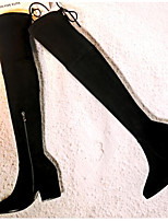 Недорогие -Жен. Комфортная обувь Замша Лето Ботинки На плоской подошве Черный