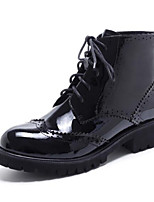 Недорогие -Жен. Fashion Boots Наппа Leather Осень Ботинки На плоской подошве Закрытый мыс Ботинки Черный