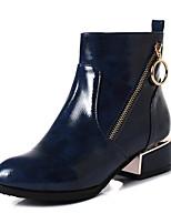 billiga -Dam Fashion Boots Lack Höst vinter Stövlar Bastant klack Rundtå Korta stövlar / ankelstövlar Svart / Blå / Vinröd