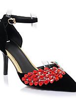 Недорогие -Жен. Комфортная обувь Замша Весна Обувь на каблуках На шпильке Черный