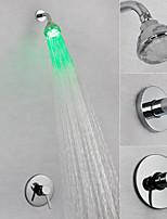 Недорогие -смеситель для душа / смеситель для ванной комнаты - современный хромированный настенный латунный клапан led