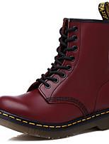 Недорогие -Жен. Fashion Boots Кожа Наступила зима Классика / На каждый день Ботинки На плоской подошве Круглый носок Сапоги до середины икры Черный / Винный