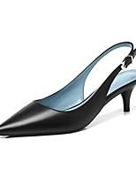 Недорогие -Жен. Комфортная обувь Наппа Leather Весна лето Обувь на каблуках На шпильке Черный / Бежевый