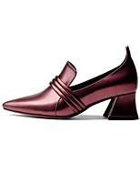 abordables -Femme Escarpins Cuir Nappa Automne Chaussures à Talons Talon Bottier Amande / Bourgogne