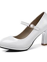 Недорогие -Жен. Комфортная обувь Лакированная кожа Весна лето Обувь на каблуках На толстом каблуке Белый / Бежевый