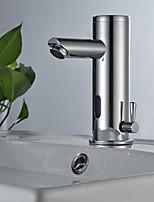 abordables -Robinet lavabo - A détecteur Chrome Sur Pied Mains libres un trou