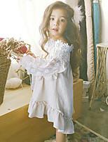 Недорогие -Дети Девочки Однотонный / Пэчворк Длинный рукав Платье