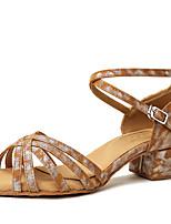 abordables -Femme Chaussures Latines Faux Cuir Talon Fantaisie Talon Plat Chaussures de danse Rose / Chameau / Brun Foncé