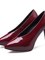 Недорогие -Жен. Комфортная обувь Наппа Leather Весна Обувь на каблуках На шпильке Черный / Красный