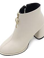 Недорогие -Жен. Fashion Boots Полиуретан Осень На каждый день Ботинки На толстом каблуке Сапоги до середины икры Черный / Бежевый