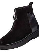 Недорогие -Жен. Fashion Boots Замша Зима На каждый день Ботинки На низком каблуке Сапоги до середины икры Черный / Хаки