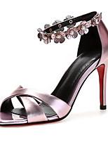 abordables -Femme Chaussures de confort Cuir Nappa Printemps Sandales Talon Aiguille Argent / Rose / Mariage