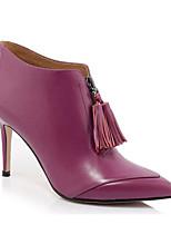 Недорогие -Жен. Fashion Boots Наппа Leather Зима Ботинки На шпильке Закрытый мыс Ботинки Черный / Лиловый / Кофейный