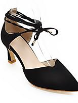 Недорогие -Жен. Балетки Синтетика Лето Обувь на каблуках На шпильке Черный / Серый