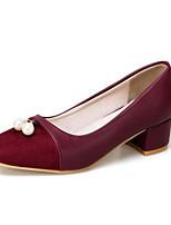 Недорогие -Жен. Комфортная обувь Полиуретан Осень Обувь на каблуках На толстом каблуке Черный / Серый / Красный