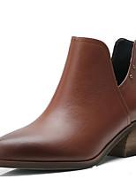 Недорогие -Жен. Fashion Boots Наппа Leather Осень Ботинки На толстом каблуке Закрытый мыс Ботинки Черный / Коричневый