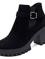 Недорогие -Жен. Ботильоны Полиуретан Осень На каждый день Ботинки Блочная пятка Круглый носок Ботинки Черный / Серый