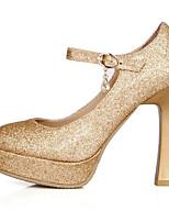 Недорогие -Жен. Балетки Полиуретан Весна Обувь на каблуках На толстом каблуке Серебряный / Красный / Зеленый