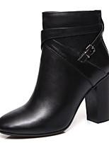 Недорогие -Жен. Fashion Boots Наппа Leather Осень Ботинки На толстом каблуке Закрытый мыс Ботинки Белый / Черный