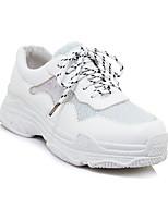 baratos -Mulheres Sapatos Confortáveis Couro Ecológico Outono & inverno Tênis Sem Salto Branco / Preto