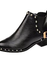 Недорогие -Жен. Fashion Boots Полиуретан Осень На каждый день Ботинки На низком каблуке Сапоги до середины икры Заклепки Черный / Коричневый