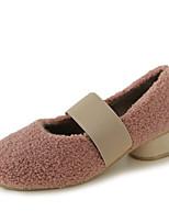 Недорогие -Жен. Балетки Полиуретан Осень На каждый день Обувь на каблуках На низком каблуке Серый / Розовый / Хаки / Повседневные