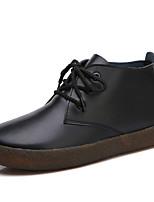 Недорогие -Жен. Fashion Boots Кожа Зима Классика / На каждый день Ботинки На плоской подошве Сапоги до середины икры Белый / Черный