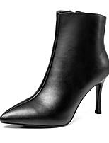 Недорогие -Жен. Fashion Boots Наппа Leather Осень Ботинки На шпильке Закрытый мыс Ботинки Черный / Светло-серый