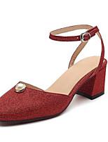 Недорогие -Жен. Комфортная обувь Замша Лето Обувь на каблуках На толстом каблуке Золотой / Серебряный / Красный