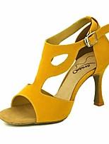 """Недорогие -Жен. Обувь для латины Синтетика На каблуках Каблук """"Клеш"""" Танцевальная обувь Черный / Желтый / Темно-красный / Выступление / Кожа / Тренировочные"""