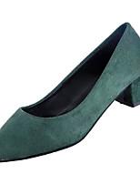 Недорогие -Жен. Балетки Полиуретан Осень Минимализм Обувь на каблуках На толстом каблуке Заостренный носок Черный / Серый / Зеленый / Повседневные