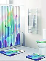 abordables -1 set Moderne Tapis Anti-Dérapants Polyester Elastique Tissé 100g / m2 Animal Rectangle Salle de Bain Adorable
