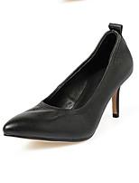 Недорогие -Жен. Комфортная обувь Наппа Leather Весна Обувь на каблуках На шпильке Черный / Миндальный